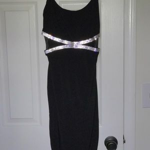 Black cocktail dress with rhinestone detail